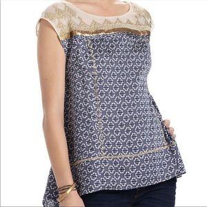 Anthropologie Floreat medium gold stream blouse